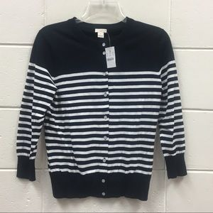 J Crew The Clare Cardigan Blue White Striped
